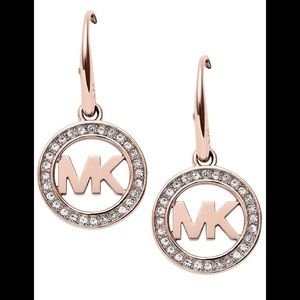 MK ROSE GOLD DESIGNER LOGO ROUND CRYSTAL DANGLE